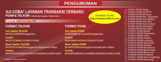 Format Transaksi untuk Transaksi Telkom dan PDAM